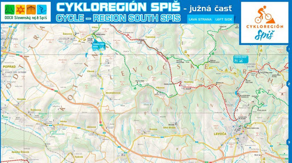 Cyklo mapa region spis